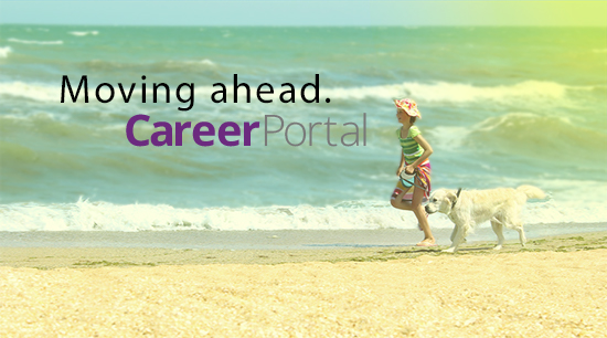 Dog and girl running on the beach. CareerPortal logo.